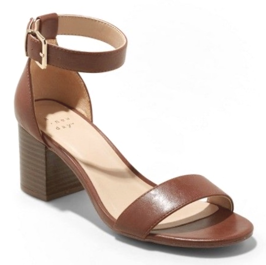 A New Day Faux Leather Brown Kianta Ankle Strap Mid Block Heels Open Toe Sandal