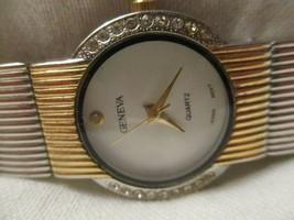 Geneva Wristwatch Round White Face Gold & Silver Toned Rhinestones - $29.00