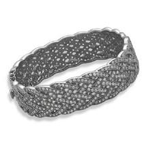 Sterling Silver Black Rhodium Plated Braided CZ Bracelet - $249.00