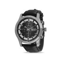 Men's Black Leather Chrono Watch - $3.182,56 MXN