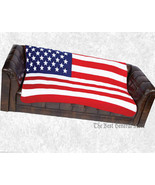 Soft Plush United States Flag Print Fleece Blanket 50 x 60 Throw Cover W... - $21.99