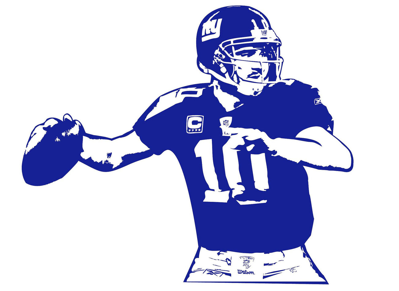 Large ELI MANNING New York Giants Football Vinyl Wall Sticker Decal