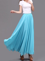 AQUA BLUE Long Chiffon Skirt High Waisted Beach Wedding Blue Bridesmaid Skirts