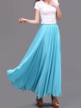 AQUA BLUE Long Chiffon Skirt High Waisted Full Circle Wedding Bridesmaid Skirt image 1