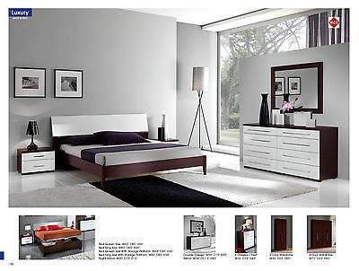 Modern ESF Italian Luxury Brown & White King Size 5 Piece Bedroom Set