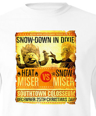 Heat Miser vs Snow Miser Christmas T-Shirt long sleeve Rudolph Santa Claus Retro