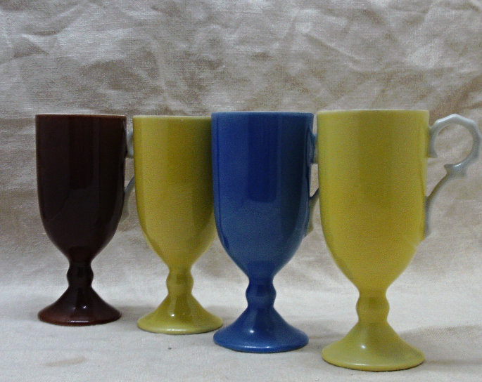 Vintage Set of Four Painted China Irish Coffee Mugs // Cappuccino Cups