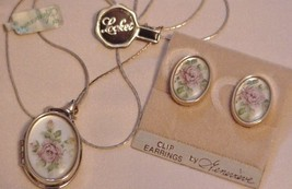 Elegant GENEVIEVE Floral Locket Necklace on Chain & Matching Earrings - $15.95