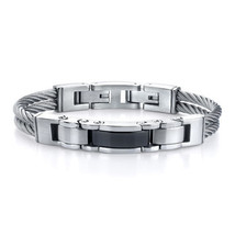 Men's Stainless Steel Cable-style Strap with Black link Centerpiece Brac... - $99.99