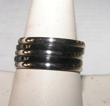 5pc Stackable Stainless Steel Black & Silver Ring Set Free Shipping - $18.00