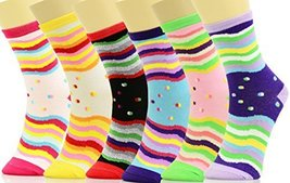 ICONOFLASH Women's Printed Crew Socks 6-Pair Bundle Pack, (Wavy Stripes, Size... - $9.89