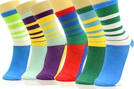 ICONOFLASH Women's Printed Crew Socks 6-Pair Bundle Pack, (Multi Stripes, Siz... - $9.89