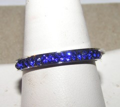Blue Rhinestone Stainless Steel Eternity Band Ring Free Shipping - $15.00