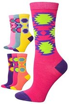 ICONOFLASH Women's Printed Crew Socks 6-Pair Bundle Pack, (Navajo Brights, Si... - $9.89