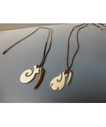 Bone fish hook with bone tooth unisex leather suede gift necklaces - $54.00