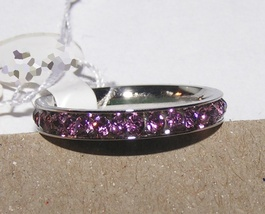 Lavender Rhinestone Stainless Steel Eternity Band Ring Free Shipping - $15.00