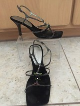 Enzo Angiolini Women's Size 7.5 Sandals Heels Black Brown Embellished Lot 2 pair - $29.95