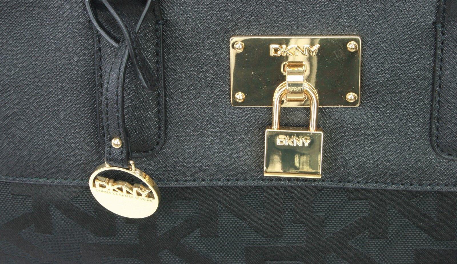 DKNY Donna Karan Black Leather PVC Heritage Tote Cross Body Bag Handbag