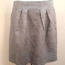 Talbots 12 Skirt Silver Gray Shimmer Linen Blend Metallic Pleated - $27.42