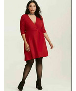 NEW 3X RED FAUX WRAP V NECK SIDE BOW KNEE LENGTH STRETCH JERSEY 3/4 SLEE... - $22.05