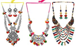 Indian Boho Style Multi-Color Fashion Pom Pom Handmade Jewelry Necklace Set - $19.95