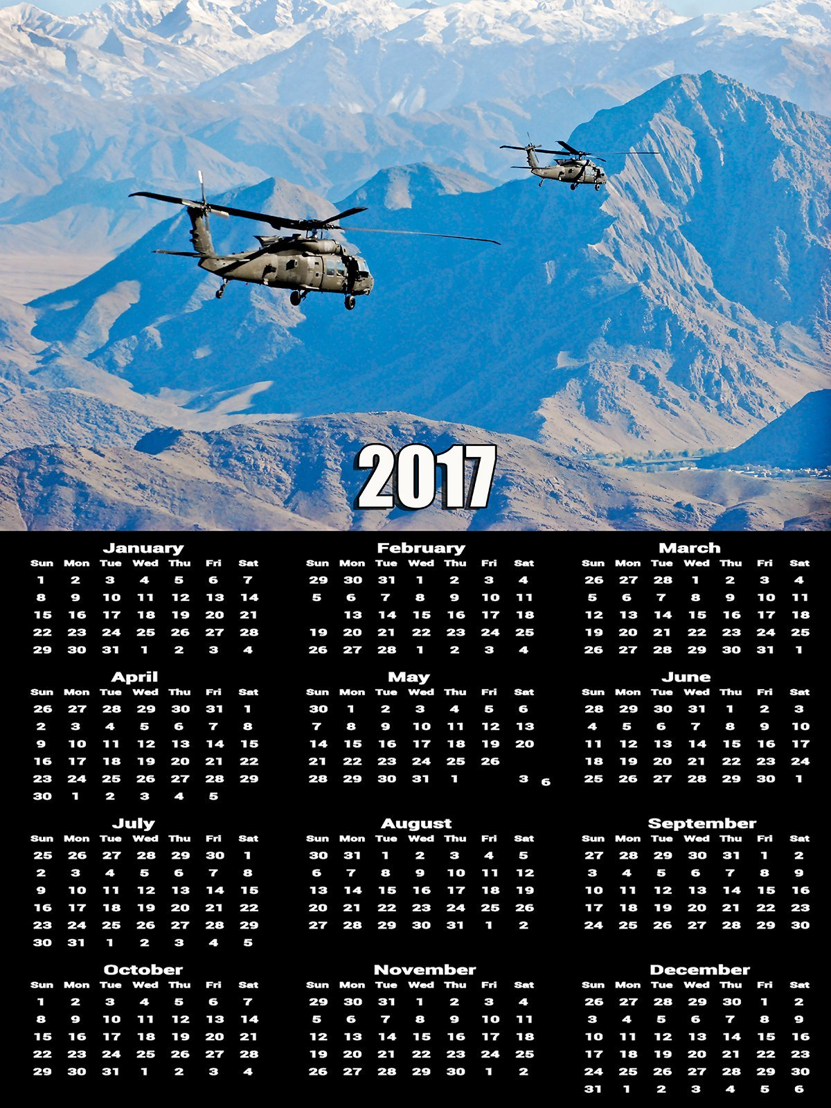 2017 Army Calendar Poster UH-60 Black Hawk Helicopter Poster Calendar