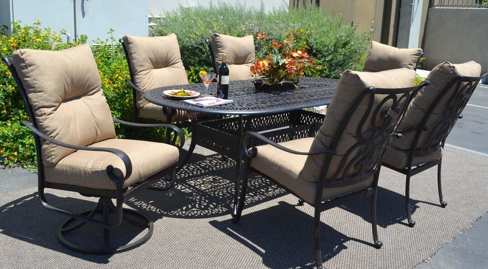 Patio 7 piece dining set oudoor cast aluminum furniture chairs Sunbrella Bronze
