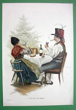 CHRISTMAS Time Family Toast Folk Costume Tree - VICTORIAN Era Color Engr... - $13.49