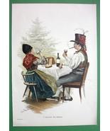 CHRISTMAS Time Family Toast Folk Costume Tree - VICTORIAN Era Color Engr... - $13.49