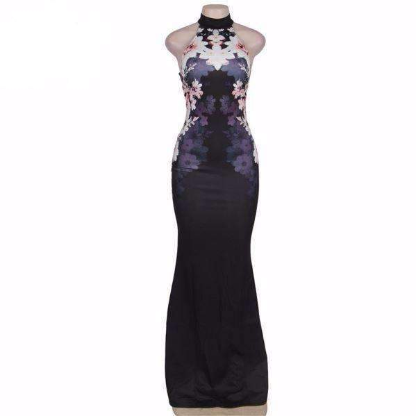 Formal Halter Flower Print Women Evening Maxi Dress