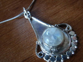 Moonstone India Tribal 925 Sterling Silver Pendant New - $16.04