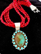 Native American Sterling Silver Coral Necklace ... - $395.01