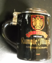 Rumple Minze Shot Glass Beer Stein Style Lid Black Ceramic Peppermint Sc... - $9.99