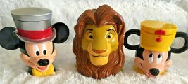 Disney on Ice Lion King Simba Mickey Mouse Plastic Cups Mugs with Hinged... - £19.64 GBP