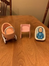 Lot Of 4 Little Tikes Baby Accessories Blue Boy Carriage Car Seat Child Toy - $20.20