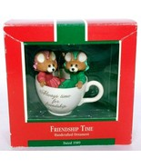 Hallmark Keepsake Christmas Ornament Friendship Time Mice In Teacup 1989 - $17.51