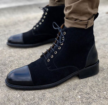 Mens Black Color Lace Up Stylish High Ankle Suede Leather Rounded Cap Toe Boots - $169.90 - $299.99