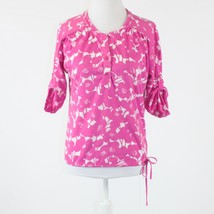 Pink white floral print button chest NEW YORK & COMPANY 1/2 sleeve blous... - $14.99