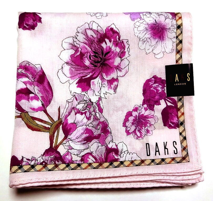 Primary image for DAKS Handkerchief scarf bandana pocket square Cotton Flower Purple L Auth New