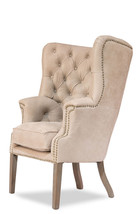 Fabulous Antique Beige Suede Oak Wood Dining Accent Chair, 31''W x 46''H. - $1,336.50
