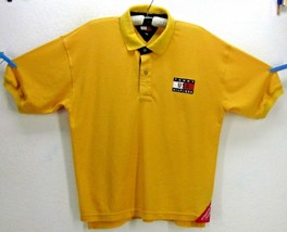 Tommy Hilfiger Usa Men's Medium Authentic Sailing Gear Yellow Cotton Polo Shirt - $72.58