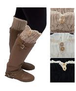 Women's Leg Warmers Lace Trim Boot Socks Button Knit Knee High Crochet N... - $8.59+