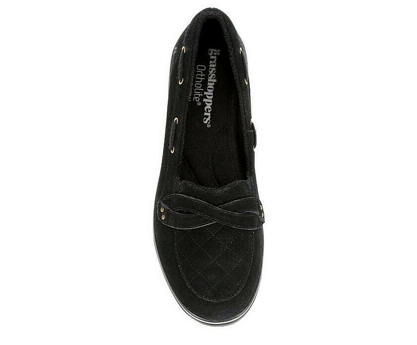 Grasshoppers Women's EH58290 Windham Suede Boat Shoe, Black Size 7 M