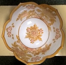 Vintage Japan LJ Porcelain X1803C Medium Lotus Bowl Gold Floral No Crack... - $11.30