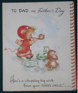FORGET ME NOT FATHER'S DAY GREETING CARD VINTAGE 1940'S - $9.99