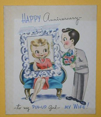 PIN-UP GIRL VINTAGE GREETING CARD 1940'S ANNIVERSAY