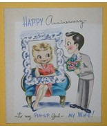 PIN-UP GIRL VINTAGE GREETING CARD 1940'S ANNIVERSAY - $9.99