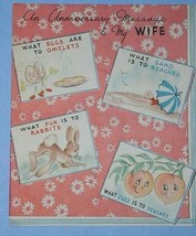 VINTAGE ANNIVERSAY GREETING CARD 1940'S SCRAPBOOKING - $9.99