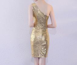 Rose Gold One Shoulder Short Sequin Dress Wedding Bridesmaid Short Sequin Dress image 10