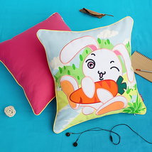 [Bunny&Carrot]Embroidered Pillow Cushion 19.7 by 19.7 inches - $33.99